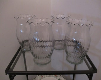 Four Clear Glass Fluted Ribbed Vases