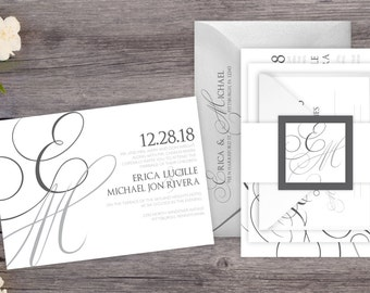 Wedding Invitations - DEPOSIT TO START Elegant Initials - Custom Wedding Invites -Personalized Wedding Invitations - Wedding Suites