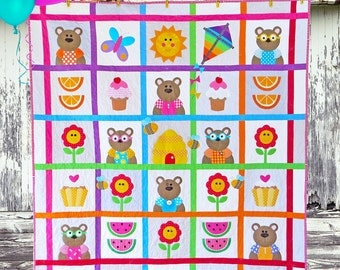 TEDDY BEAR'S PICNIC | pdf Quilt Pattern | Patterns | Quilts | Teddy Bear Quilt | Teddy Bears | Applique Quilts | Happy Quilts | Kids Quilts