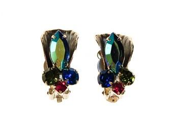 Colorful Rhinestone Earrings, Clip On, Blue Aurora Borealis, Green, Pink, Rhinestones, 1950s, 1960s Era