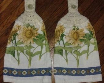 Yellow Sunflower Kitchen Towel with cream crochet towel, Set of 2