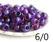 Purple TOHO Seed glass beads, size 6/0, Inside Color Rainbow Rosaline Opaque Purple Lined, N 928, round, japanese - 10g - S319