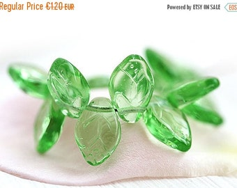 ON SALE Transparent Green leaves, Czech glass beads, green leaf beads, 12x7mm - 25Pc - 0977