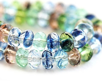 4x7mm Rondelle beads mix in Blue and Jewel tones, czech glass gemstone cut spacers, fire polished donut, rondel - 25Pc - 0844