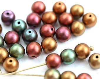 6mm Round Metallic beads mix, Czech glass Matte Gold, Purple, Copper druk pressed spacer beads - 30Pc - 2962