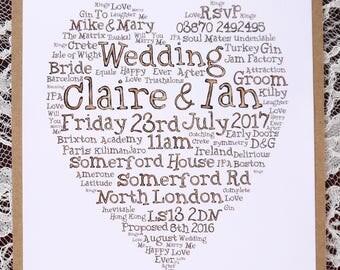 Wedding word art print Invitations Personalised Heart hand drawn lettering named bespoke engagement anniversary birthday invites named