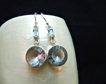 Blue Topaz & Alexandrite Sterling Silver Drop Earrings