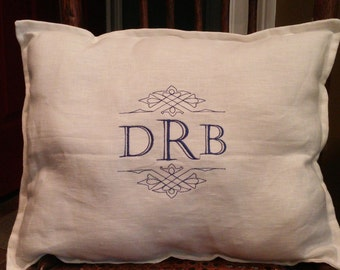 Monogrammed Linen Pillow Cover, Rectangular or  Square with Flange, White or Cream w/ Invisible Zipper