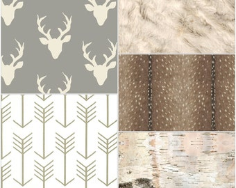 Woodland Crib Bedding- Buck, Deer Skin Minky, White Tan Arrow, Ivory Crushed Minky, and Birch Crib Bedding Ensemble