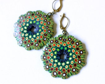 Mandala earrings, cool earrings, Polymer Clay, millefiori earrings, DIY earrings, handmade jewelry, wearable art, Fimo clay, OOAK earrings