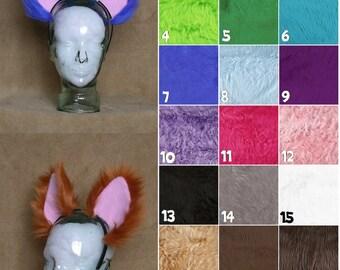 BIG toony cat/fox/wolf ears on a headband - custom colour