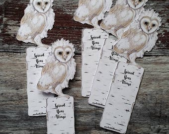 Owl Bookmark - Die Cut Card -  Baby Owl - Beautiful and Handmade - Small Notelet