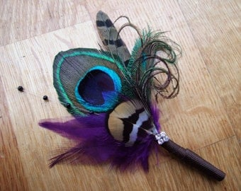 """Pheasant Peacock Feathers and Crystal """"Lyssa"""" Wedding Boutonniere - Woodland Rustic Wedding Theme Ideas Groom Best Man Lapel Pin"""