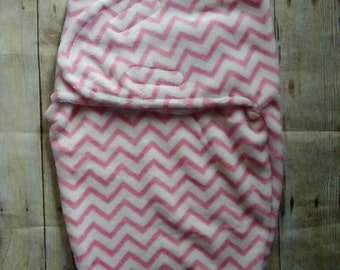 Personalized Minky Swaddle Blanket Hot Pink Chevron
