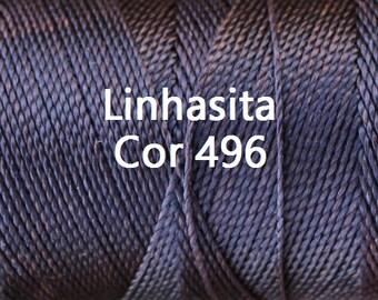 Linhasita Chocolate cor 496, Waxed Polyester Macrame Cord-Hilo Encerado/ Spools