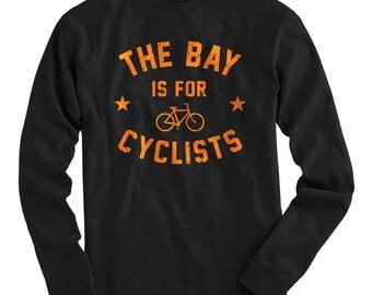 LS The Bay Area is for Cyclists Tee - Long Sleeve T-shirt - Men S M L XL 2x 3x 4x - Bicycle Shirt, Cycling Shirt, Racing Shirt, Bike SF Tee