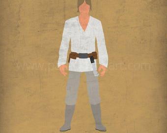 Star Wars A New Hope - The Farmboy - Luke Skywalker Art Print - poster, rebel, tatooine, jedi, star wars, minimalist
