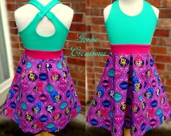 Girls SHIMMER & SHINE Dress, Girls Dress, Shimmer, Shine, Aurora Dress, Shimmer and Shine - Available 2y - 12y