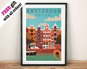 AMSTERDAM REISE POSTER: Vintage Holland Kunstdruck Wand Hängen