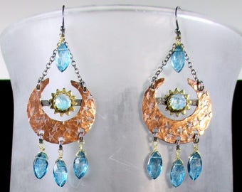 Copper Crescent Moon Earrings, Teal Mystic Coated Rock Quartz, Brass Sun set with Rainbow Moonstone,Rustic Chic, Boho Jewelry