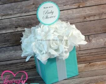 Centerpiece -  Light Teal & White Silk Roses Flower Box Centerpiece - Baby Shower, Bridal Shower, Wedding, Birthday, Graduation
