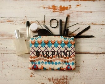 War Paint Makeup Bag in Tribal Print Ikat