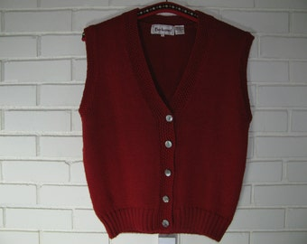80's Oversize S red sweater vest