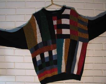 80's cotton blend color block sweater size L