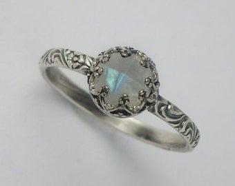 Romantic Moonstone Ring, Custom created in your size, Moonstone Ring Silver, Moonstone Jewelry, Natural Moonstone, June Birthstone Ring