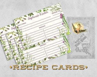 Herb Garden Recipe Cards - Personalized Printed 4x6 or 5x7 Recipe Cards - Two-sided - Organic Cooking, Kitchen Bridal Shower, Gift for Cook
