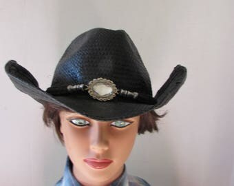Hat Western Cowboy/girl bling high fashion Black adjustable brim