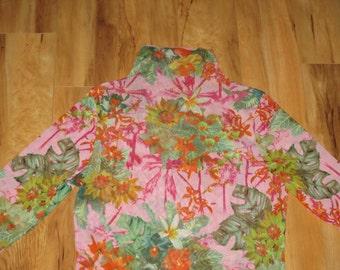 Vintage 1990s Harajuku Kawaii Rave Floral Blouse