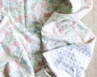 Baby Blanket Boho Feathers and Minky