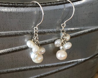 Pearl Cluster Earrings - Dangle Pearl Earrings - Silver Pearl Cluster Earrings - Pearl Jewelry - Bride Gift - Wedding Gift - Mothers Day