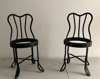 Pair of Pettite French Industrial Chairs
