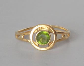 Green Tourmaline Ring. 14k Gold. Deco Inspired Hand Made Ring. Size 6.5