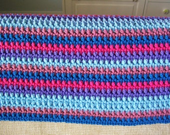 Crochet Shawl, Crochet, Blue Shawl, Salmon Pink Shawl, Purple Shawl, Multi Color Shawl