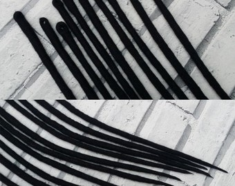 Natural Off Black Single Ended Merino Wool Dreads Up To 24 inches Long Made To Order