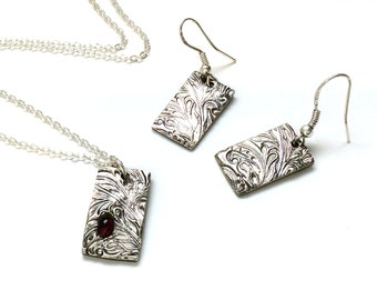 Silver Necklace/Earrings Set,Red Garnet Necklace,Sterling Silver Pendant with Red Garnet and Matching Earrings,Valentine Gift,Gift for Women