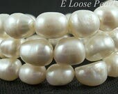 Good Quality Baroque pearl Large Hole Freshwater Pearl Potato White Loose pearls Necklace 9.5-10mm 14.9 inches Full Strand Item No : PL3053