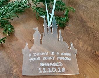 ORIGINAL CREATOR Princess Castle Ornament, Engagement Ornament, Disney Wedding, Disney Princess Christmas Ornament, First Home Ornament