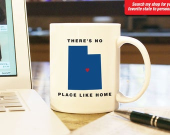 Utah UT Coffee Mug Cup, No Place Like Home, Gift Present, Wedding Anniversary, Personalized Color, Custom Location Ogden, Salt Lake Provo