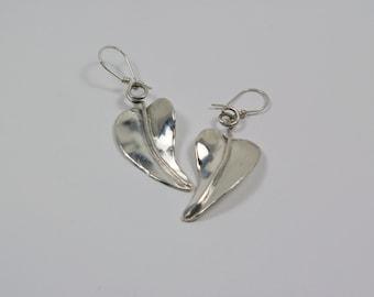 Sterling Silver Earrings - Silver Leaf Earrings - Retro - Mid Century
