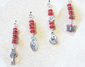 Red Glass Bead Add a Charm w/Silver Charm Butterfly Beaded Jewelry Purse Charm Silver Heart Charm Beads to Add to a Keychain Red Zipper Pull
