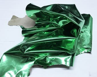 Italian Lambskin leather hide skin pelt skins hides METALLIC GREEN 6sqf