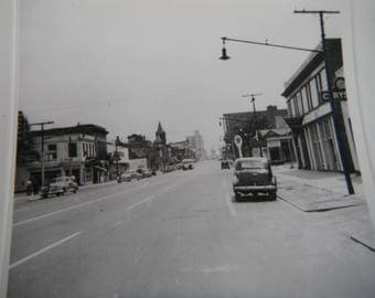 Vintage Snapshot Photo - Wide City Streets - Old Cars - Texaco Sign