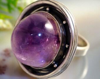 Amethyst Ring Purple Viola Sterling Silver