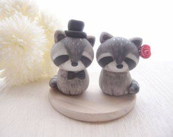 Love Wedding Cake Toppers - Raccoon with base