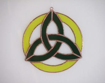 Stained Glass Green and Yellow Celtic Triad Suncatcher