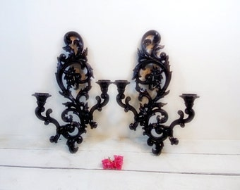 Vintage Ornate Satin Black Sconces Beautiful French Country Paris Chic